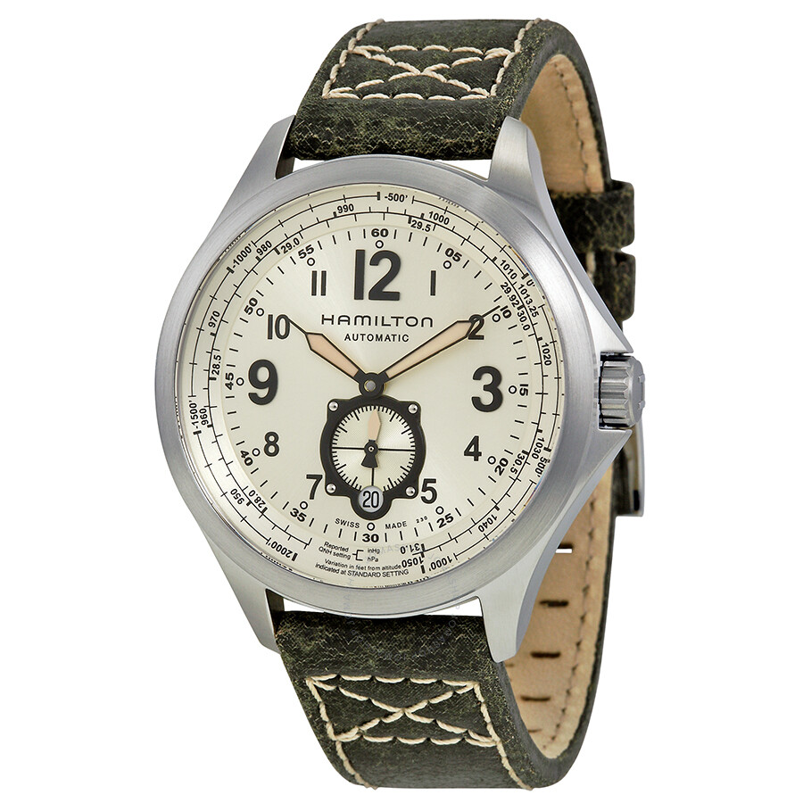 Hamilton Khaki Aviation Automatic Beige Dial Green Leather Men S Watch H76655723