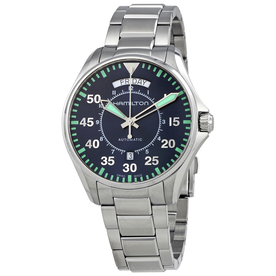 Hamilton Khaki Aviation Pilot Day Date Auto Blue Dial Men s Watch H64615145  ... b420c2529e90