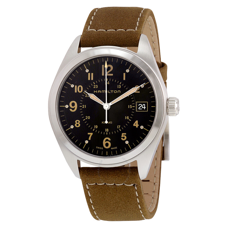 Hamilton khaki black dial tan suede men 39 s watch h68551833 khaki field hamilton watches for Black tan watch