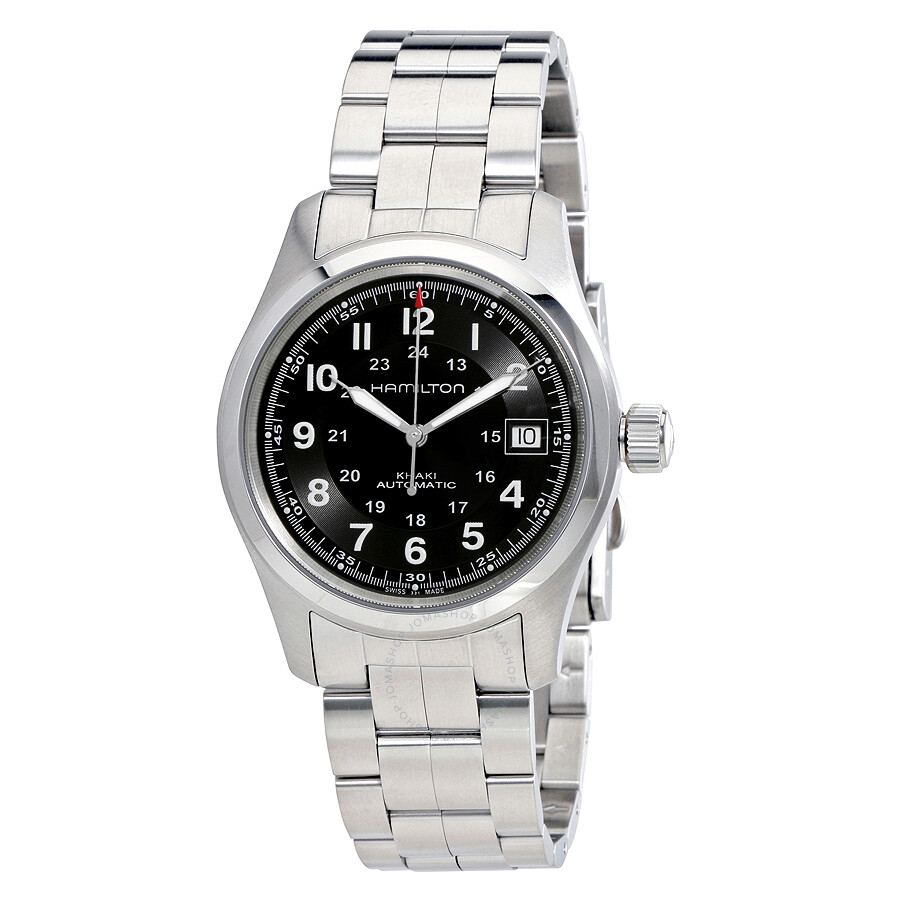 04a1bc598f18 Hamilton Khaki Field Automatic Black Dial Men s Watch H70455133 ...
