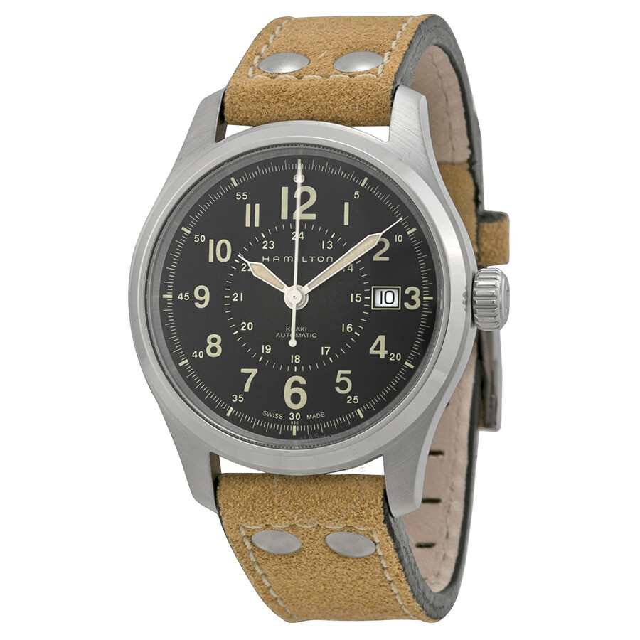 98482282756a Hamilton Khaki Field Automatic Black Dial Men s Watch H70595593 ...
