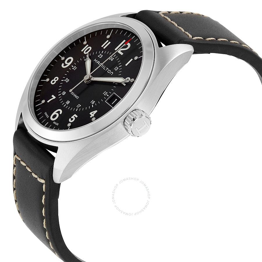 9bc78730b ... Hamilton Khaki Field Black Dial Black Leather Watch H68551733 ...