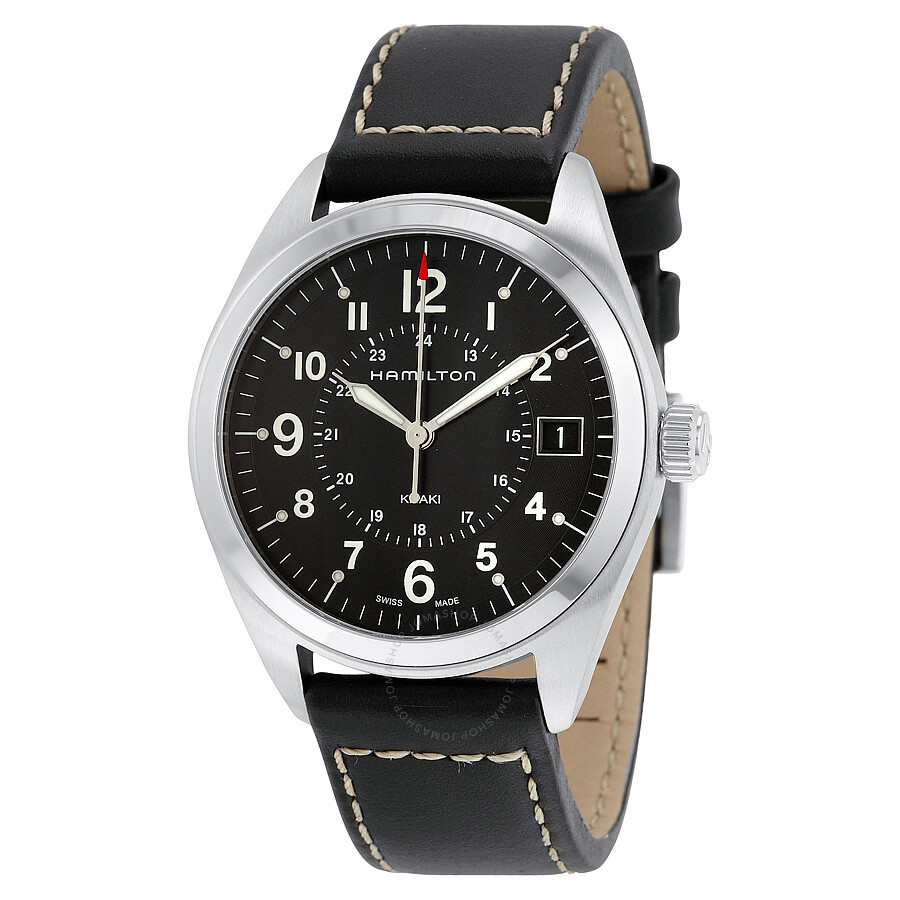 357a54dcc Hamilton Khaki Field Black Dial Black Leather Watch H68551733 ...