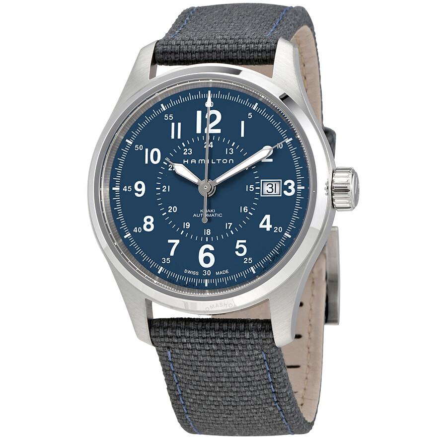 Hamilton Khaki Field Blue Dial Automatic Men s Nylon Watch H70305943 ... f87fed1dc