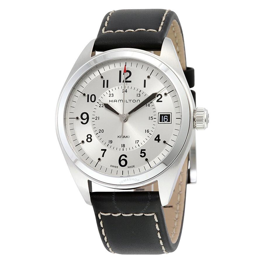e1a7184ad Hamilton Khaki Field Silver Dial Black Leather Men's Watch H68551753 ...
