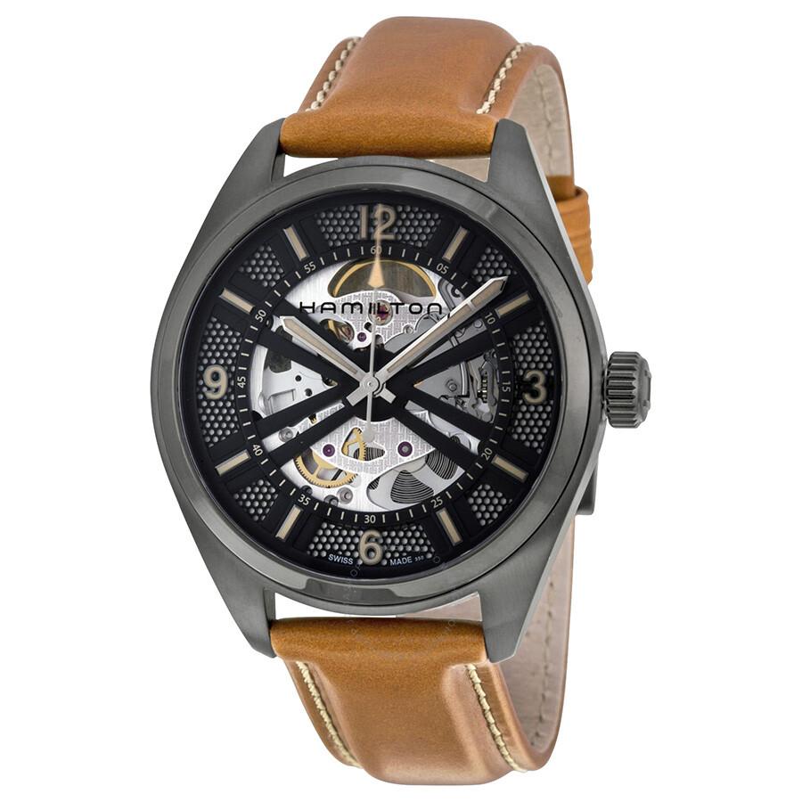 da03b0e32 Hamilton Khaki Field Skeleton Dial Brown Leather H72585535 $819 + FS with  Code