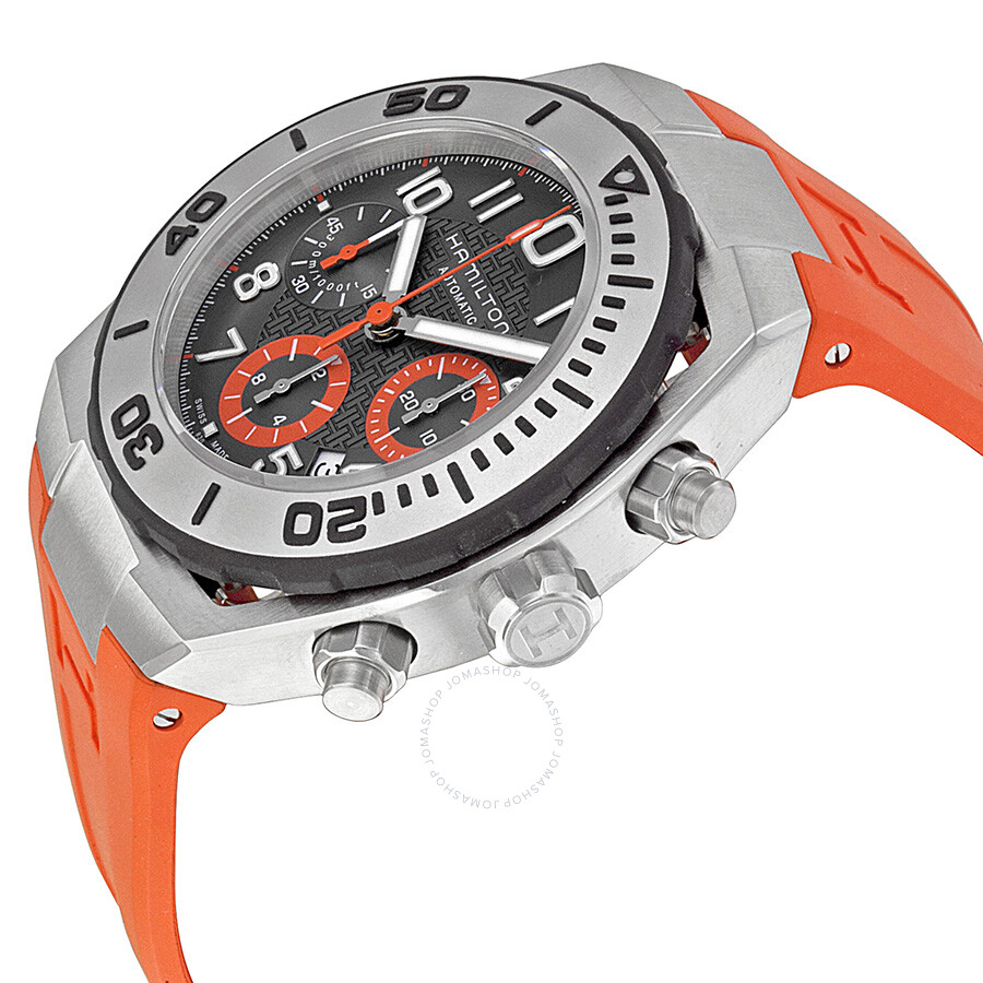 Hamilton Khaki Navy Sub Automatic Chronograph Dark Gray Dial Orange Rubber Men S Watch H78716983