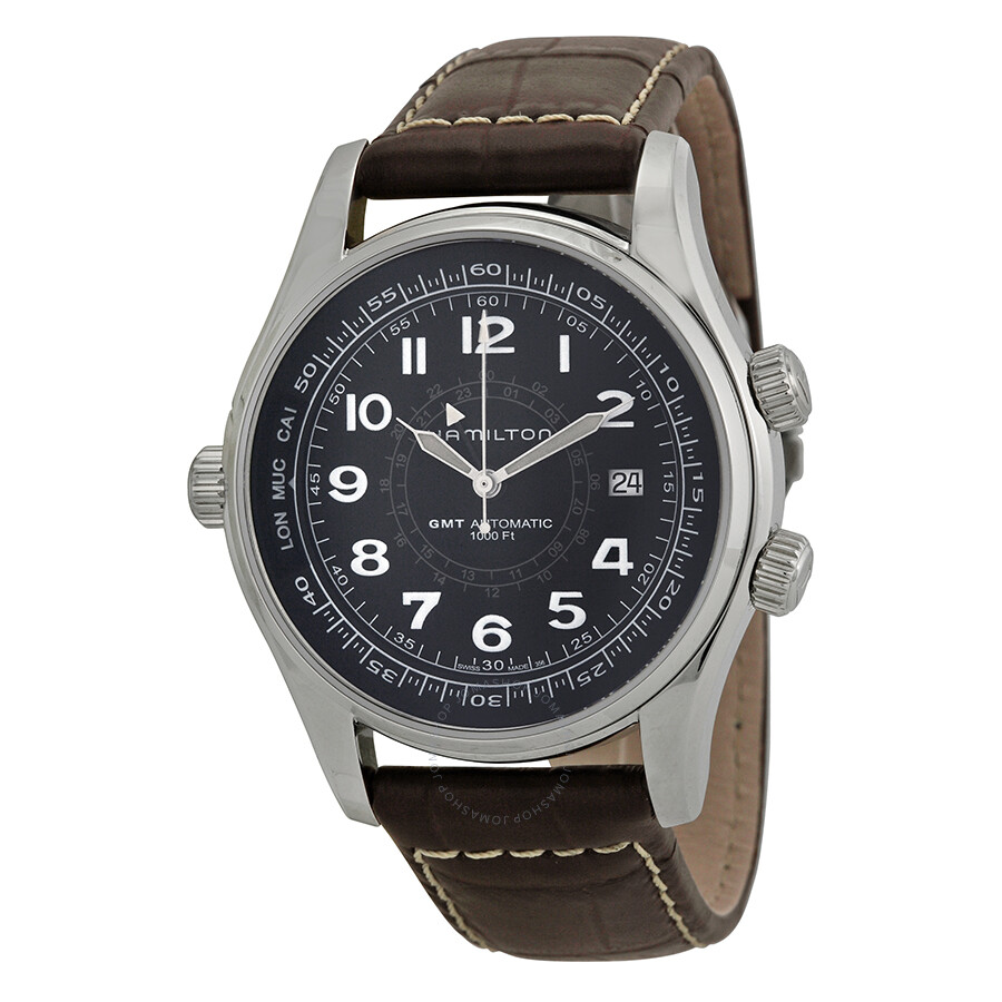 3096d81257b Hamilton Khaki Navy UTC Black Dial Men s Watch H77505535 - Khaki ...