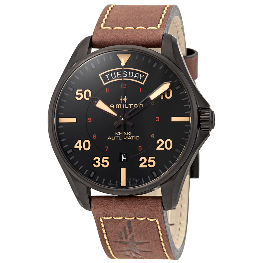 Hamilton Khaki Pilot Automatic Black Dial Men s Watch H64605531 ... 2f2a424b13