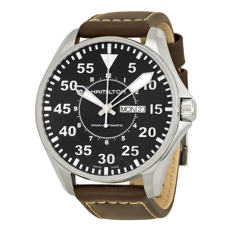 Hamilton Khaki Pilot Automatic Black Dial Men s Watch H64715535 ... 1946b92fd9