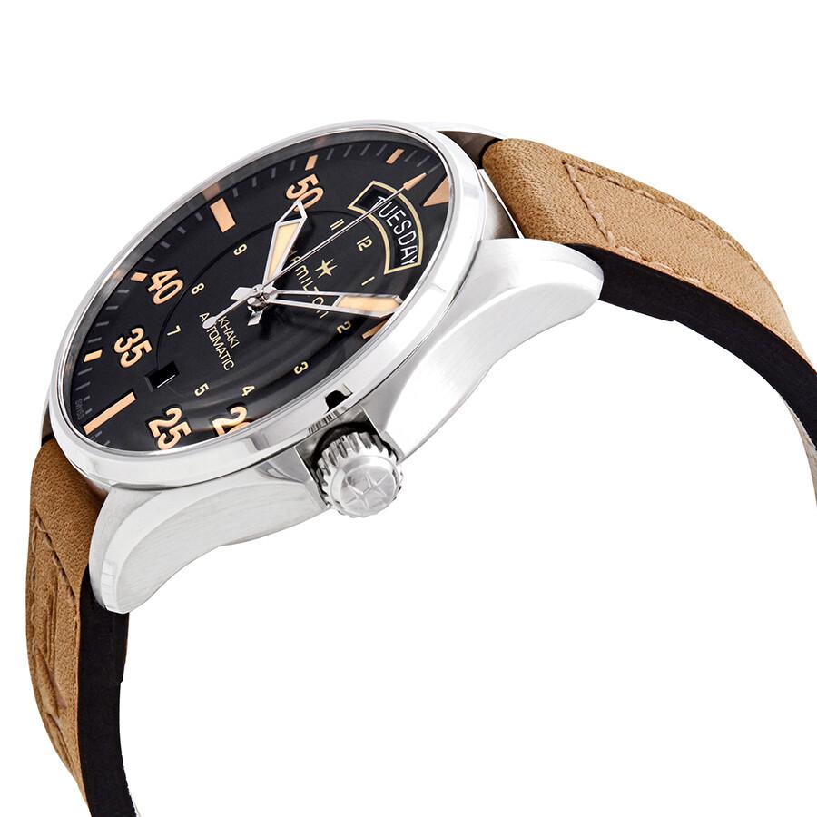 57db77ee8 ... Hamilton Khaki Pilot Day Date Automatic Black Dial Men's Watch H64645531  ...