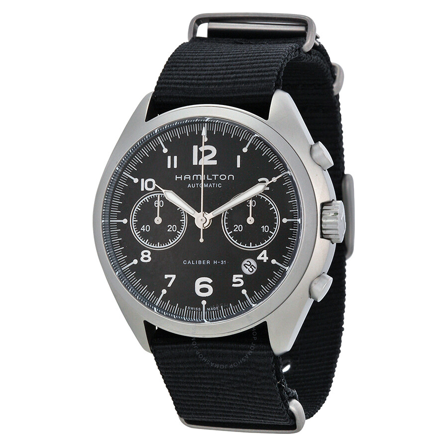 9e6e77522 Hamilton Khaki Pilot Pioneer Automatic Chronograph Black Dial Black Canvas  Men's Watch H76456435 ...
