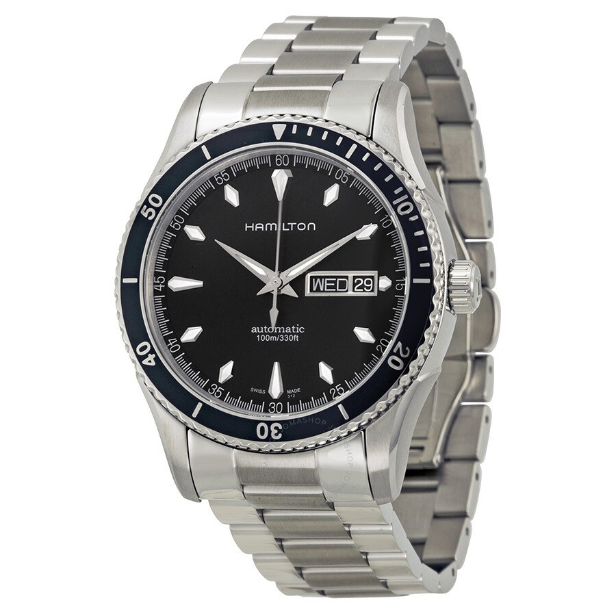 Hamilton seaview black dial stainless steel men 39 s watch h37565131 jazzmaster hamilton for Stainless watches
