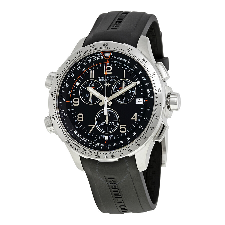 hamilton x wind gmt black dial men s chronograph watch h77912335