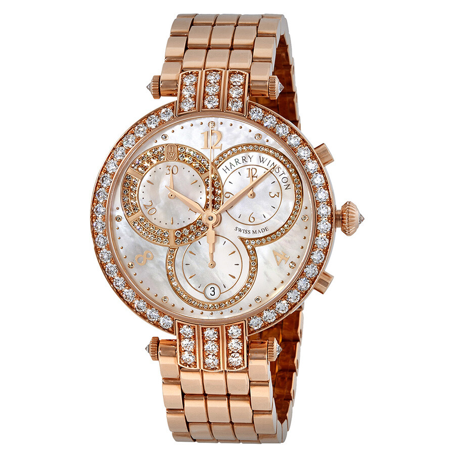 af7e0e7fcbf46 Harry Winston Premier Mother of Pearl Dial Ladies 18K Rose Gold Chronograph  Watch PRNQCH40RR003