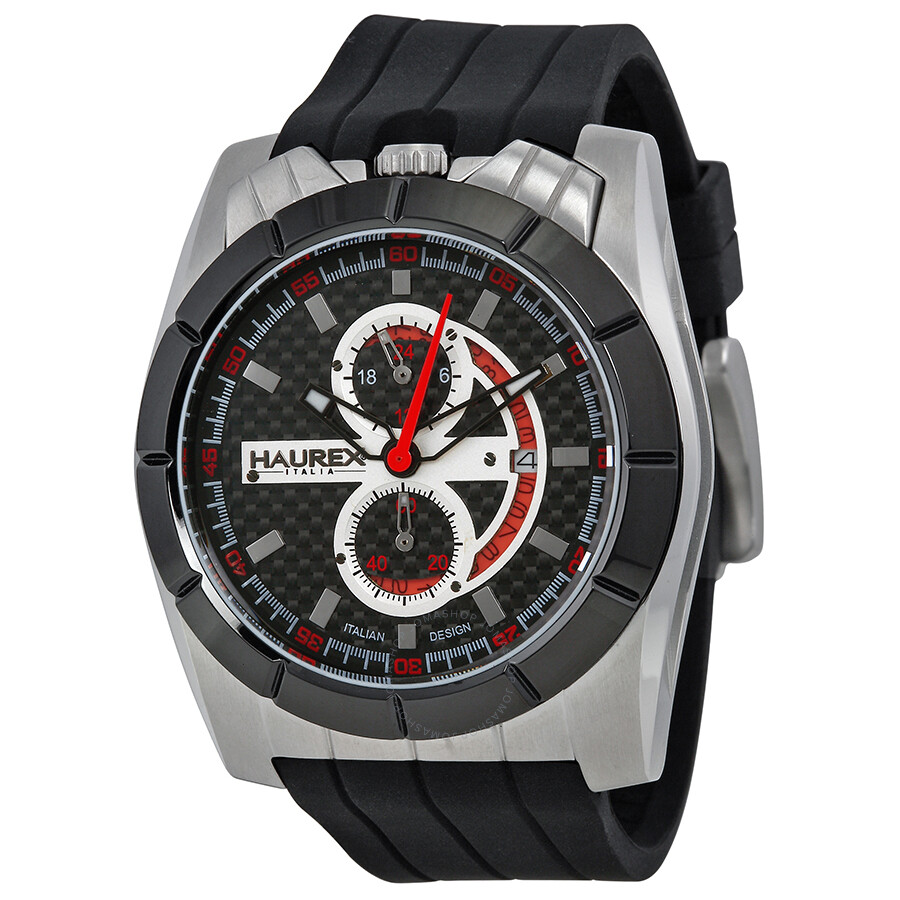 Haurex italy chronograph black rubber men 39 s watch 3d362ucr haurex italy watches jomashop for Haurex watches