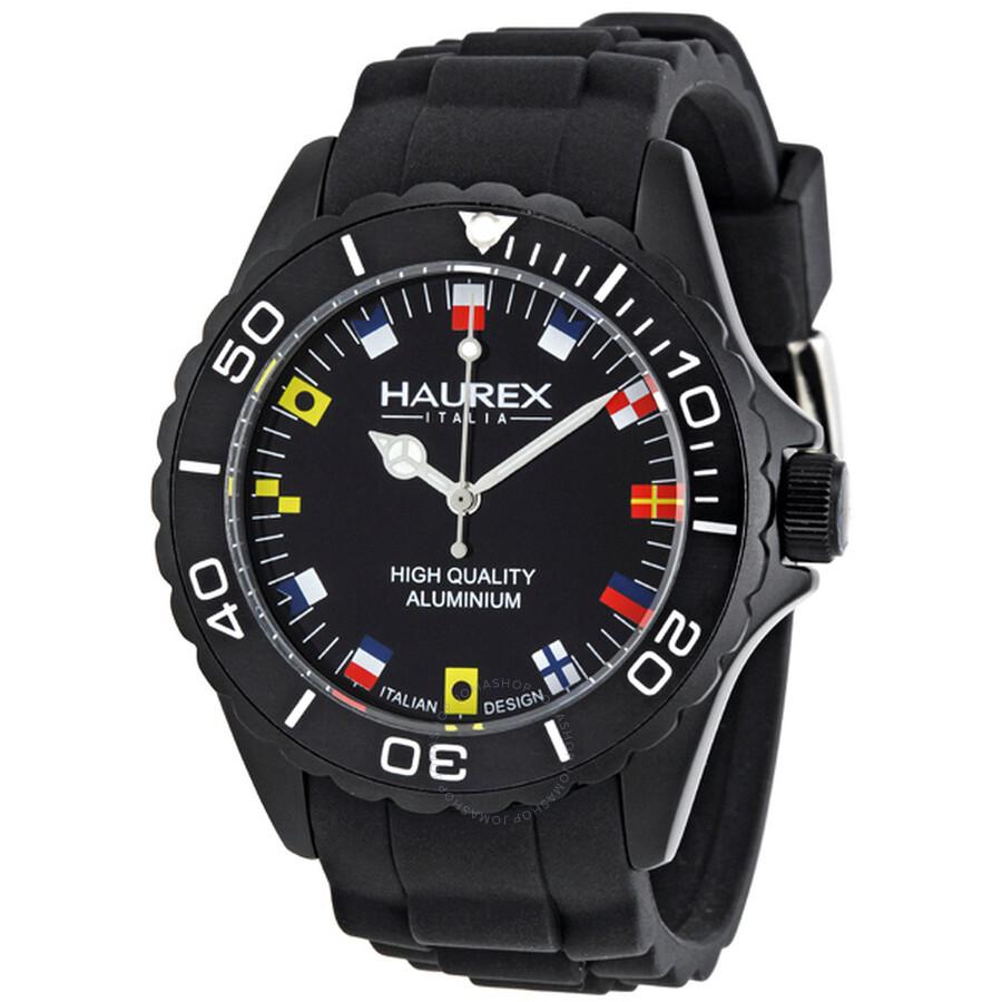 Haurex italy ink black rubber strap men 39 s watch 1k374unf haurex italy watches jomashop for Haurex watches