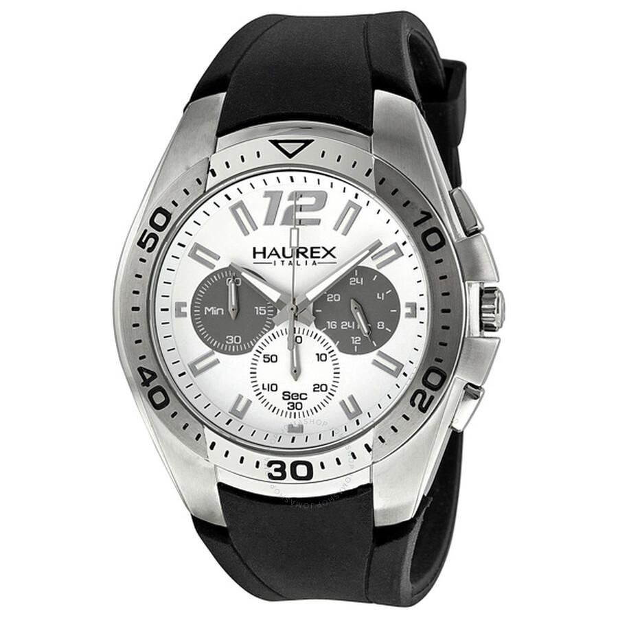 Haurex italy speed chronograph white dial men 39 s watch 3a384uwg haurex italy watches jomashop for Haurex watches
