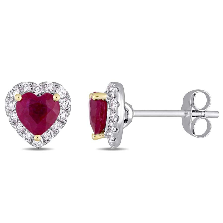 Heart Shape Ruby And 1 3 Ct Tw Diamond Halo Stud Earrings In 14k White