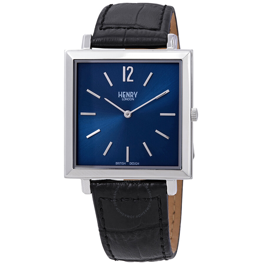 ffb00efd315 Henry London Heritage Square Mightnight Blue Dial Men s Watch HL34-QS-0267  ...