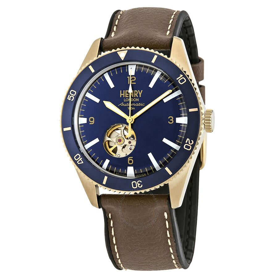 Henry London Sport Automatic Navy Blue Skeleton Dial Men S Watch Item No Hl42 As 0334
