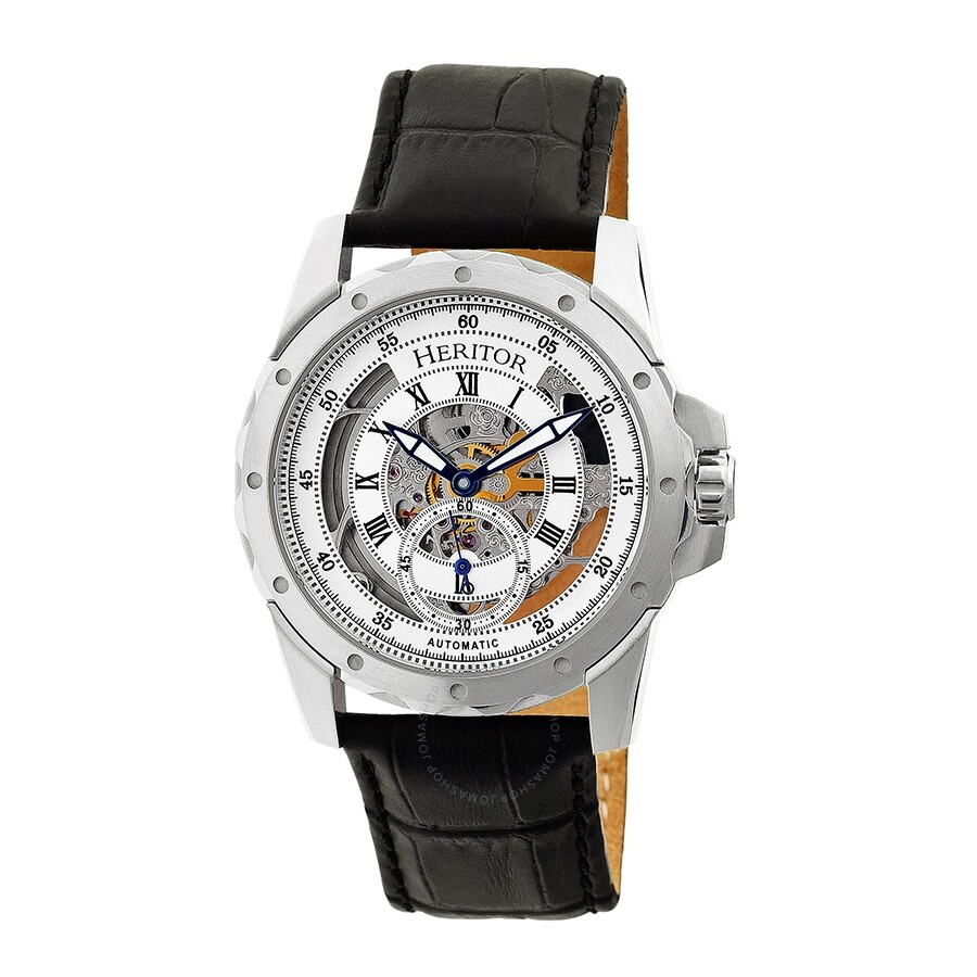 aa4021e99 Heritor Armstrong Automatic Silver Skeleton Dial Men's Watch HR3401 ...