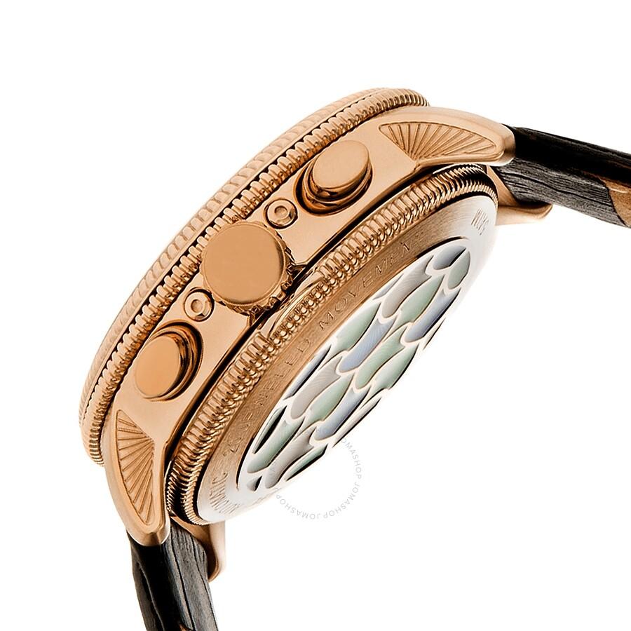 bdecfa2b4 ... Heritor Aura Custom Vitreous Enamel Semi-Skeleton Dial Rose Gold-tone  Steel Case Men's ...