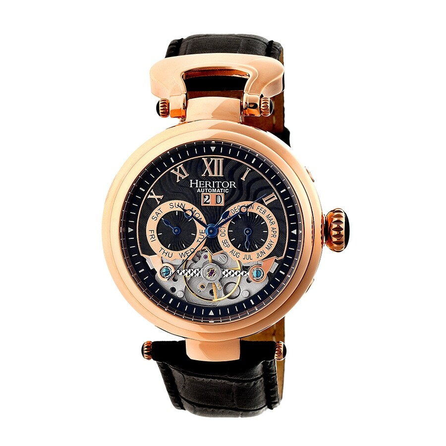 5e02cff83 Heritor Ganzi Automatic Multi-Function Black Brushed Dial Black Leather  Men's Watch HR3306 ...