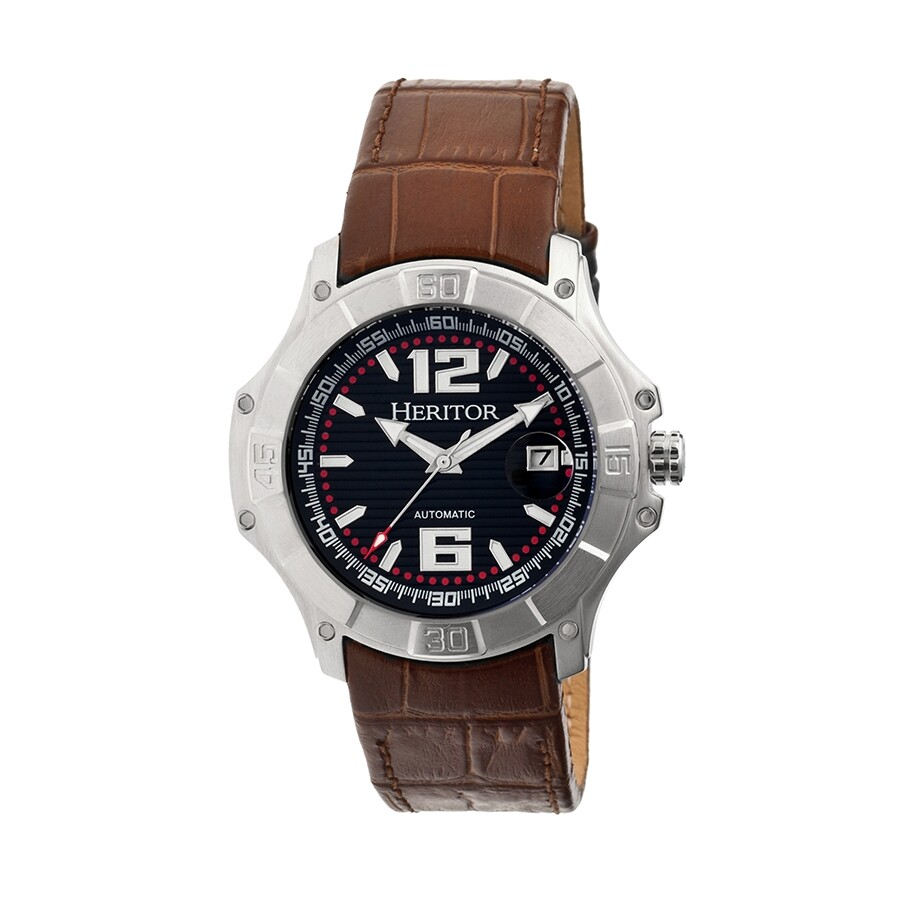 heritor norton automatic black brown leather s