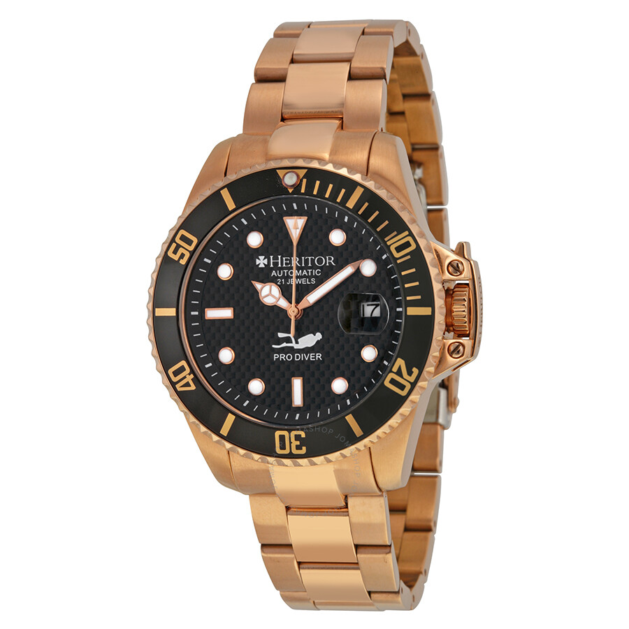 f895831cdce1 Heritor Pytheas Diver Automatic Black Carbon Dial Rose Gold-tone Men s Watch