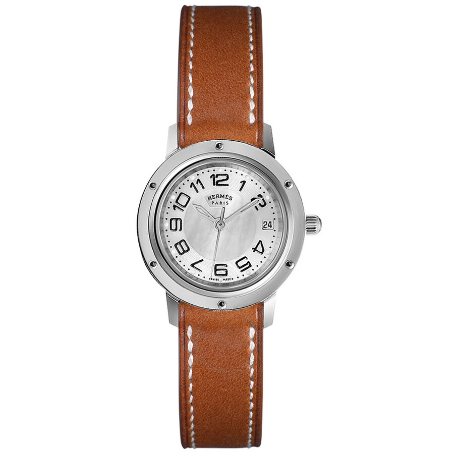 hermes watches jomashop hermes clipper classique silver dial brown leather ladies watch