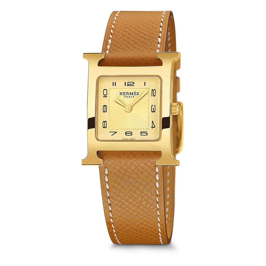 hermes h hour chagne gold grained leather