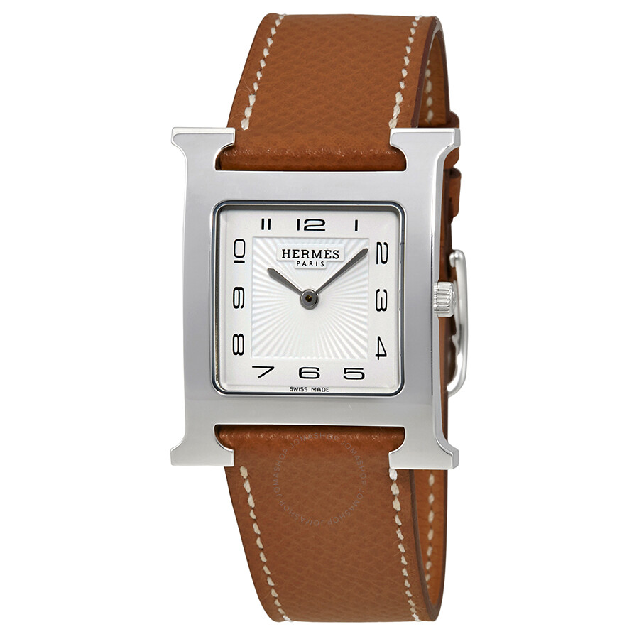 hermes h hour white dial brown leather ladies watch 036791ww00 hermes watches jomashop