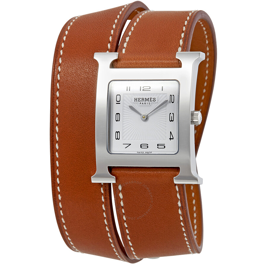 hermes h hour white brown leather