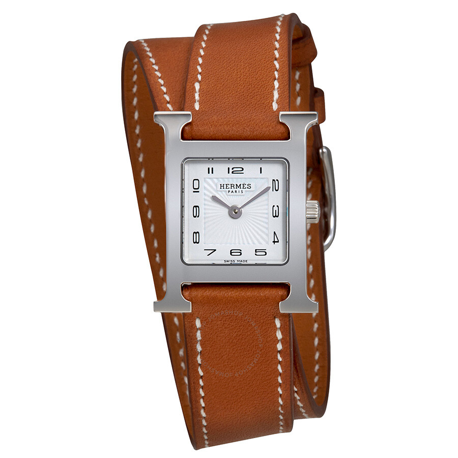hermes h hour white leather 036717ww00
