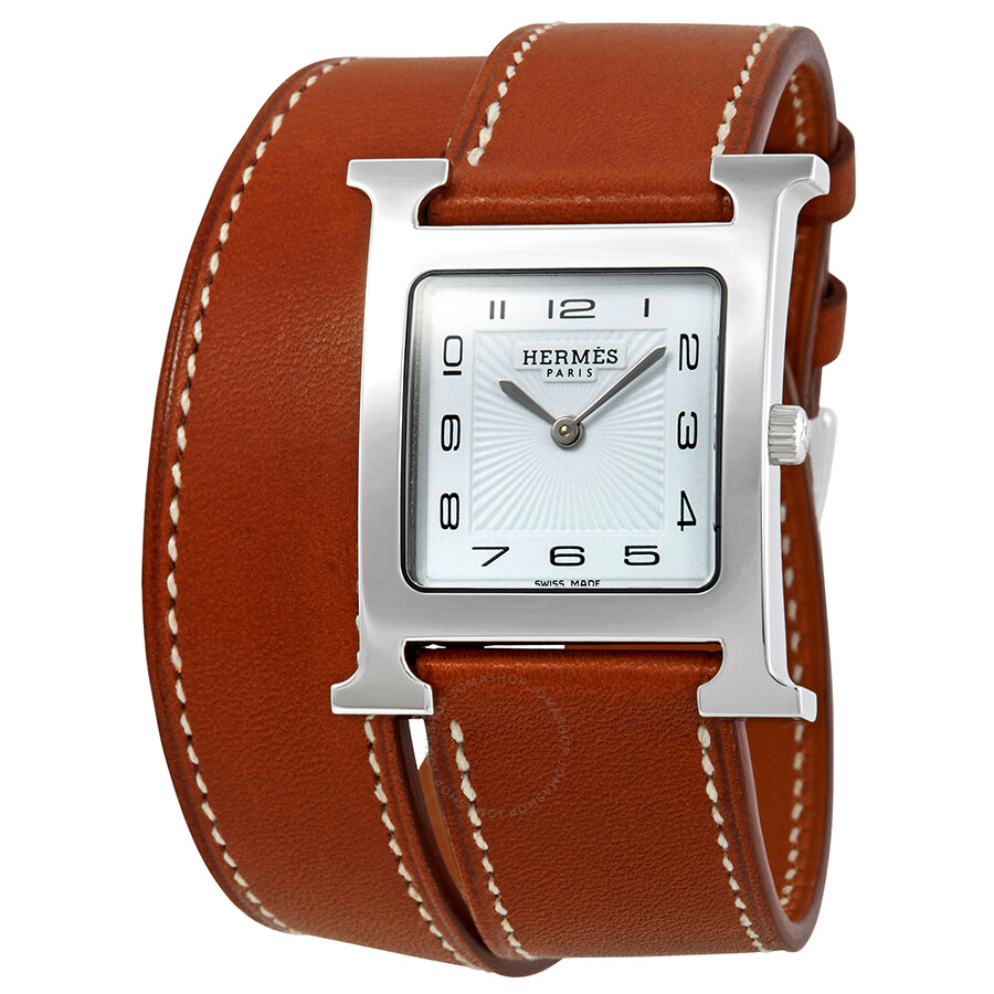 ede1ed9fd2e1 Hermes Heure H White Dial Ladies Short Double Tour Leather Watch 036809WW00  ...