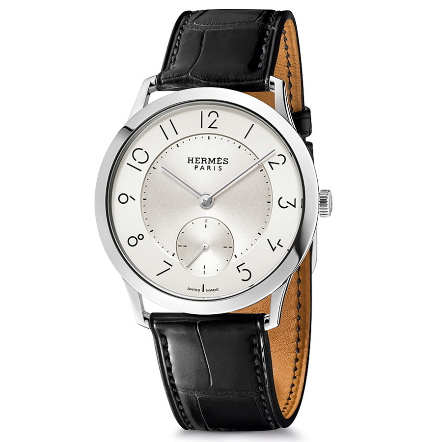 hermes slim d hermes silver automatic s