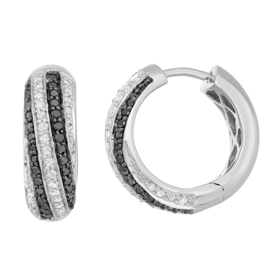 Hetal Diamonds 1 2 Cttw White Black Diamond Hoop Earrings In Sterling Silver