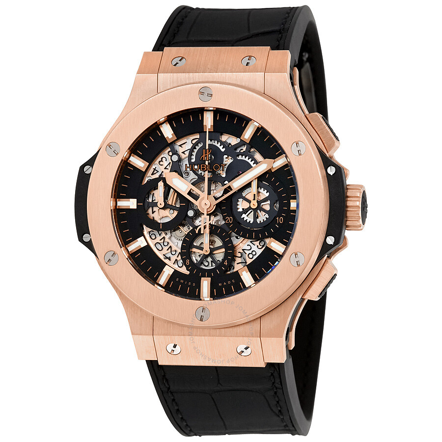 hublot big aero gold 44mm black rubber s