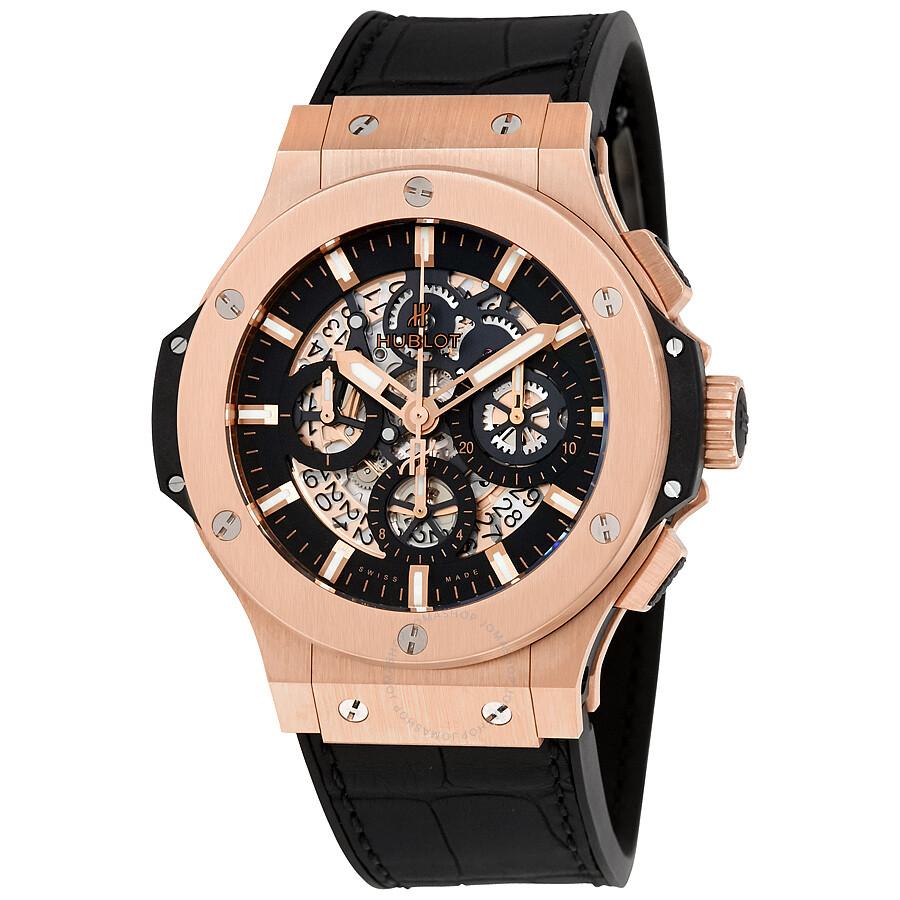 Hublot big bang aero bang gold 44mm black rubber men 39 s watch 311 big bang aero bang for Hublot watches