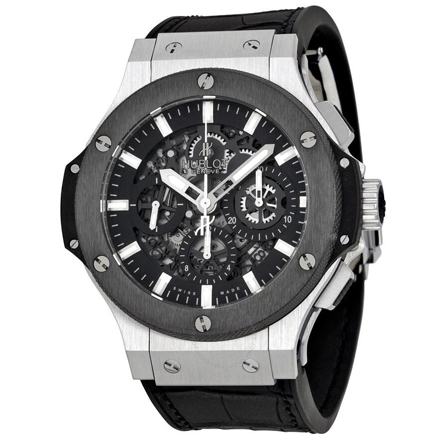 Hublot big bang aero chronograph black skeleton dial black rubber strap men 39 s watch 311 sm 1170 for Hublot watches