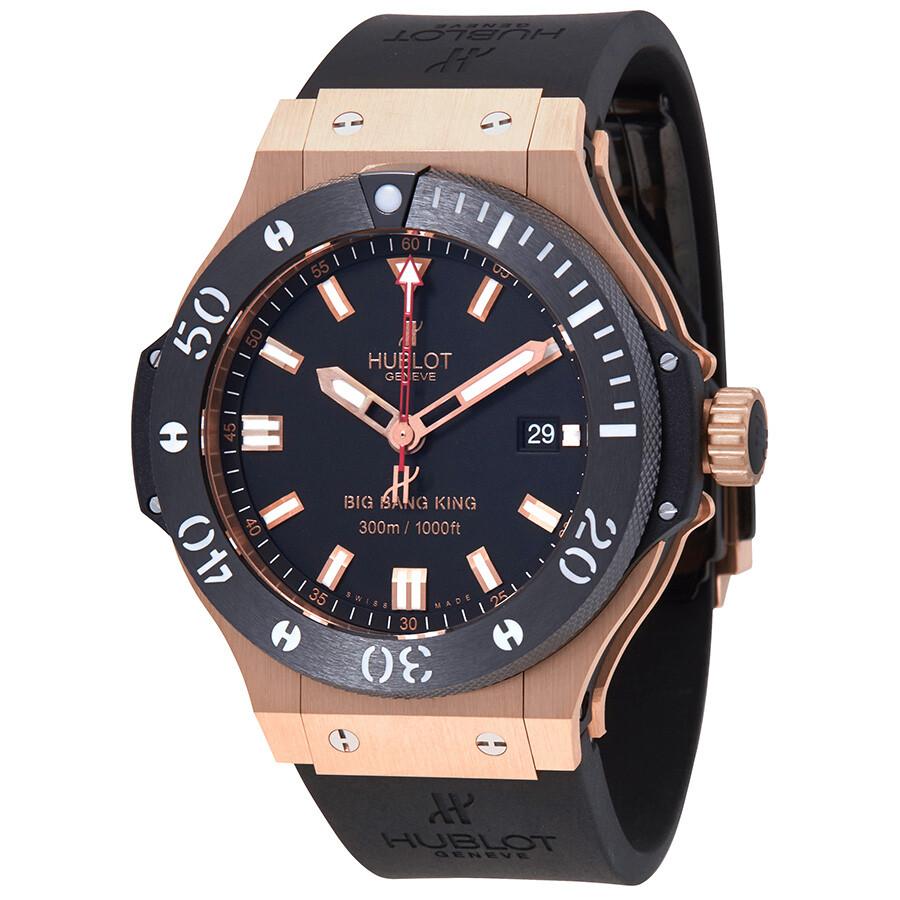 Hublot Big Bang Black Dial 18kt Rose Gold Ceramic Case Rubber Men s Watch  312. 81134bd9cc59