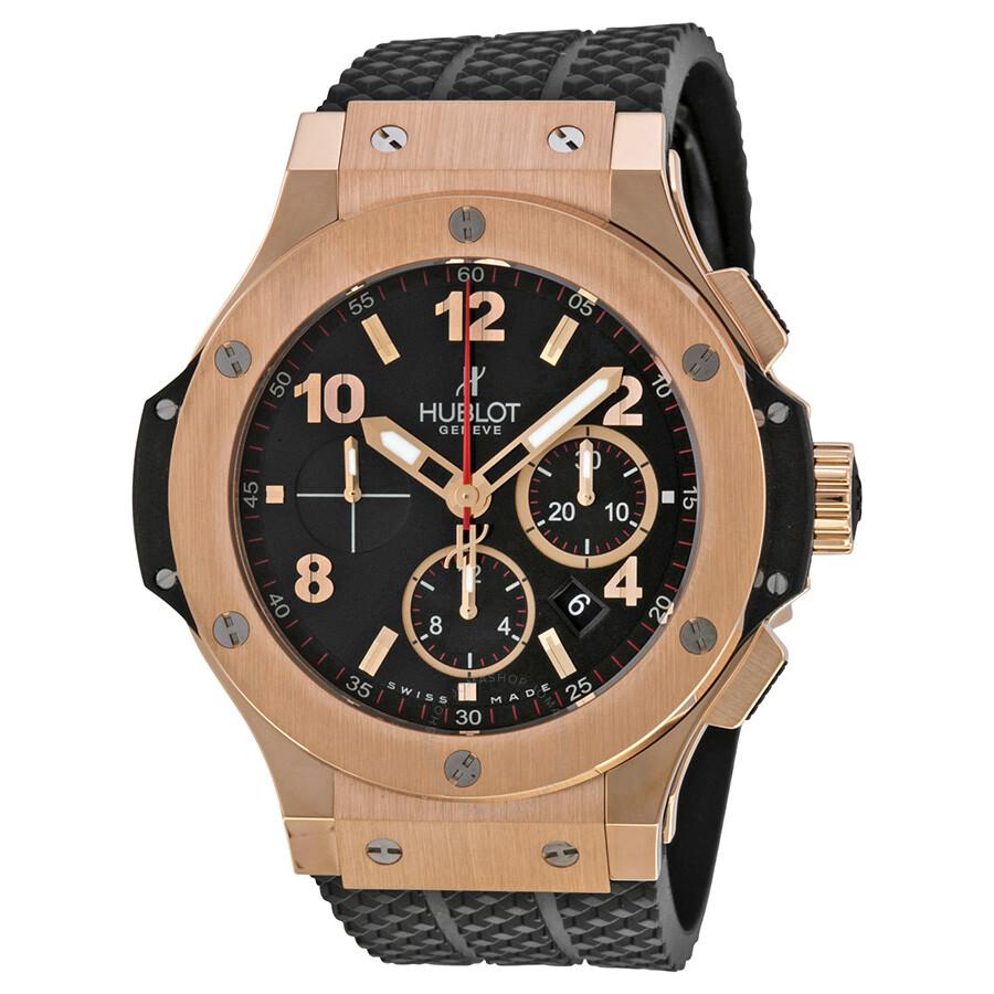 Hublot big bang 18kt rose gold black dial black rubber men 39 s watch 301px130rx big bang for Hublot watches