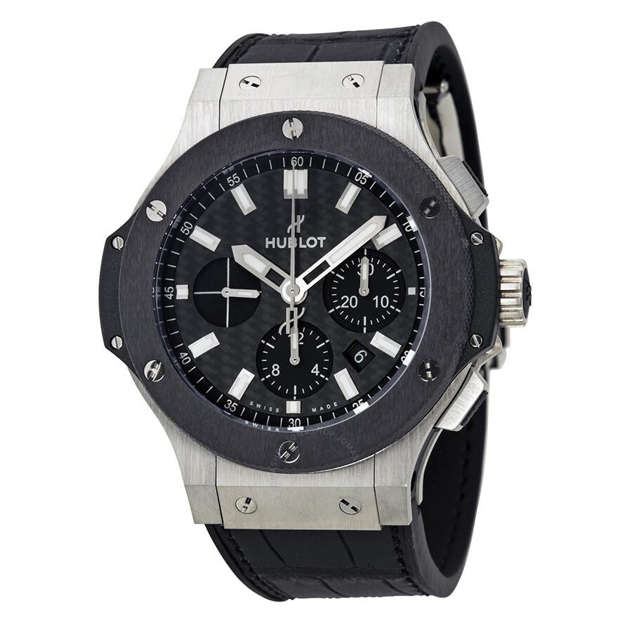 Hublot big bang evolution black carbon fiber dial automatic chronograph men 39 s watch 301 for Hublot watches