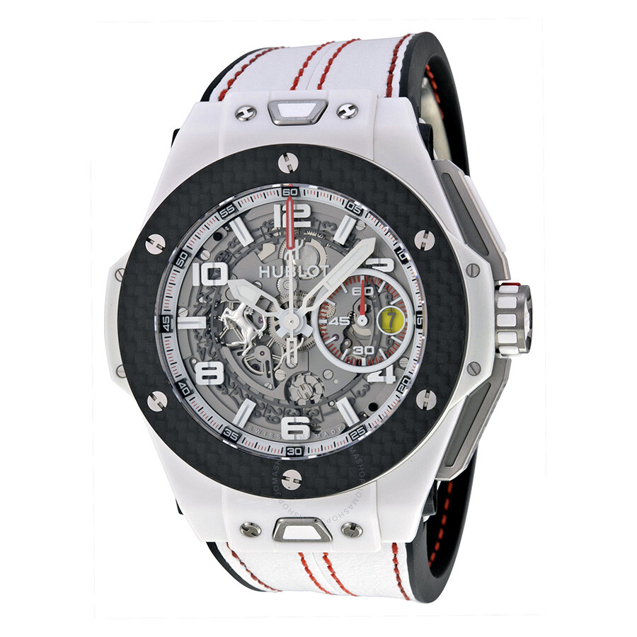 Hublot Big Bang Ferrari White Ceramic Carbon Dial Skeleton Ceramic Men\u0027s  Sports Watch 401.HQ.0121.VR