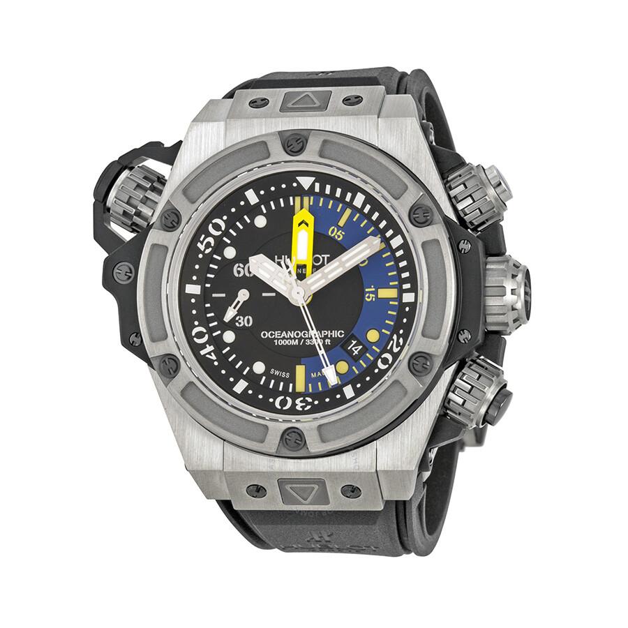 Hublot big bang king power black and blue dial titanium rubber men 39 s watch 732nx1127rx king for Hublot watches