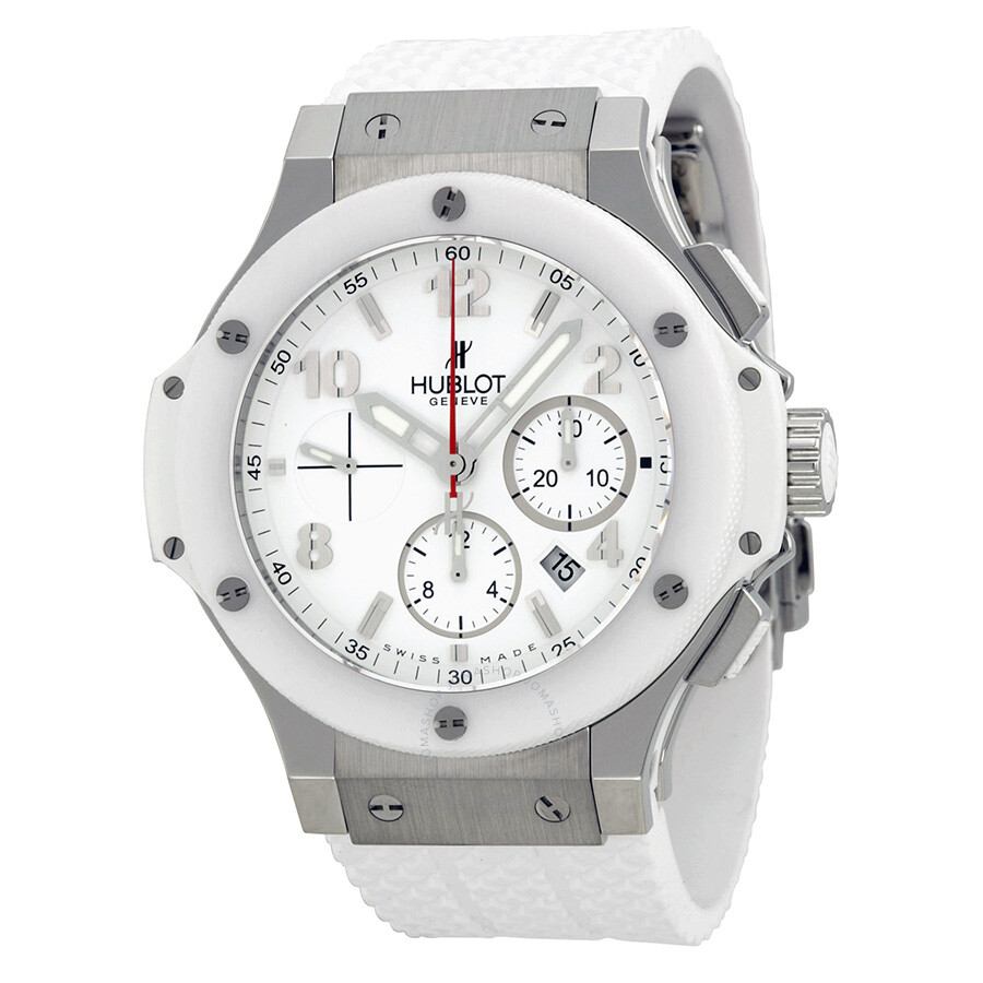 Hublot big bang st moritz chronograph white dial white rubber unisex watch 301 big for Rubber watches
