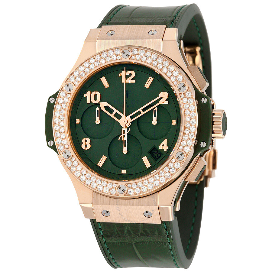 Hublot big bang tutti frutti mat green dial automatic ladies chronograph watch 341 for Watches hublot