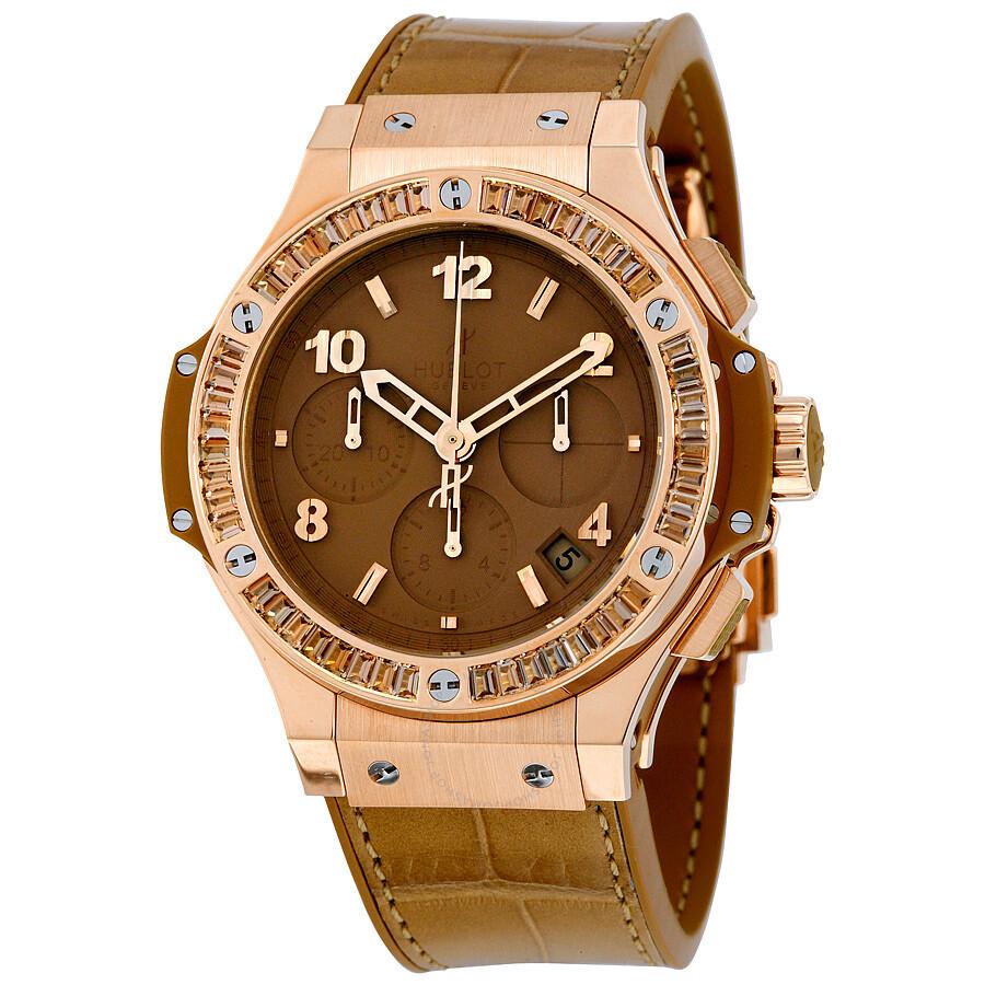 Hublot big bang tutti frutti tan dial chronograph 18kt rose gold unisex watch 341pa5390lr1918 for Watches hublot