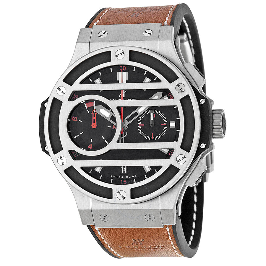 Hublot chukker bang black dial titanium brown leather men 39 s watch 317nm1137vr big bang for Watches hublot